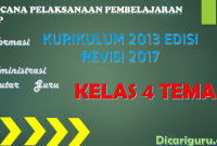 Download RPP Kelas 4 Tema 3 Kurikulum 2013 Revisi 2017