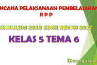 Download RPP Kelas 5 Tema 6 Kurikulum 2013 Revisi 2017