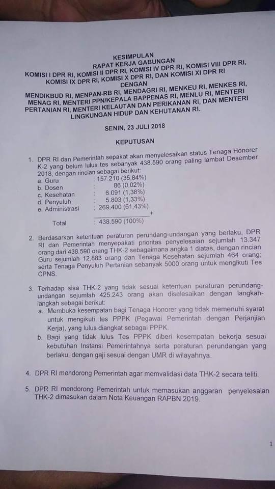 Hasil Rapat Gabungan DPR RI dan Pemerintah 23 Juli 2018 Hasilkan 5 Poin Penting