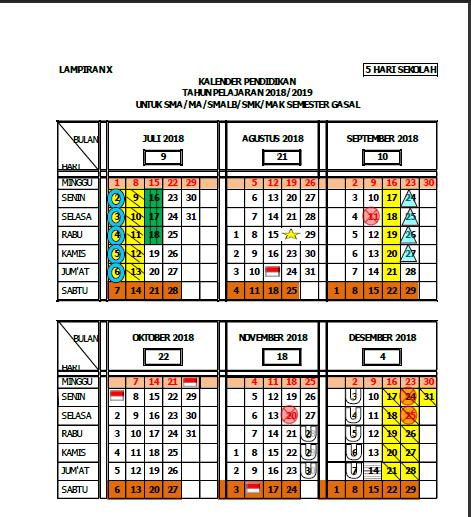 Download Kalender Pendidikan Tahun 2018/2019 Edisi Nusantara