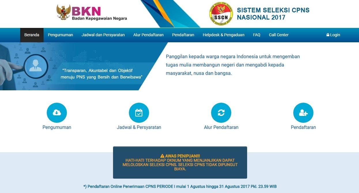 Akhirnya sscn.bkn.go.id BKN Telah Siap Ini Cara Daftar CPNS 2018