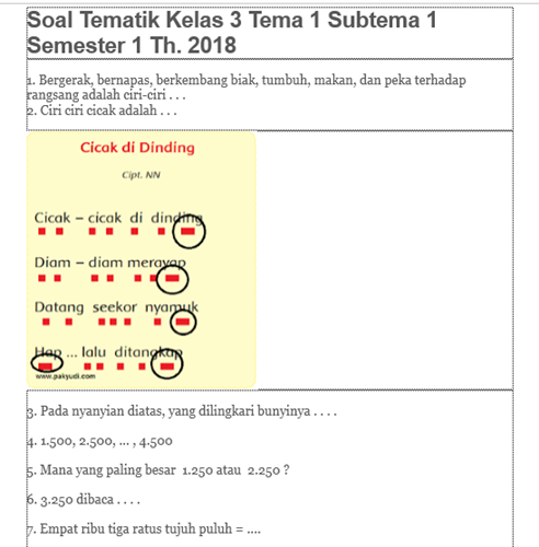 Download Bank Soal Kelas 3 Tema 1 K13 Revisi 2018