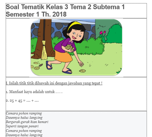 Download Bank Soal Kelas 3 Tema 2 K13 Revisi 2018