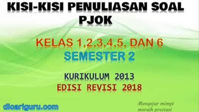 Download Kisi - Kisi Soal PJOK Kelas 1,2,3,4,5 dan 6 K13 Revisi 2018 Semester 2