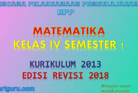 Download RPP matematika Kelas 4 semester 1 K13 Revisi 2018