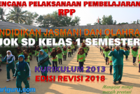 Download RPP PJOK K13 SD Kelas 1 Semester 1 Revisi 2018