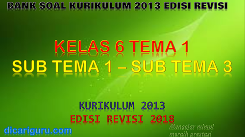 Download Bank Soal Kelas 6 Tema 1 K13 Revisi 2018