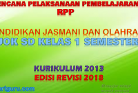 Download RPP PJOK K13 SD Kelas 1 Semester 2 Revisi 2018