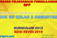 Download RPP PJOK K13 SD Kelas 3 Semester 2 Revisi 2018