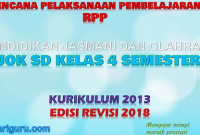 Download RPP PJOK K13 SD Kelas 4 Semester 2 Revisi 2018