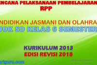 Download RPP PJOK K13 SD Kelas 6 Semester 2 Revisi 2018