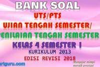 Download soal UTS/PTS Kelas 4 Semester 1 K13 Revisi 2018