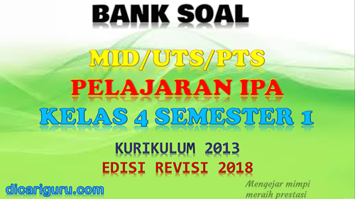Download soal UTS/PTS IPA Kelas 4 Semester 1 K13 Revisi 2018