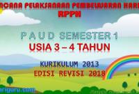 Download RPPH PAUD usia 3-4 tahun K13 semester 1