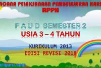 Download RPPH PAUD usia 3-4 tahun K13 semester 2