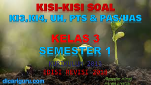 Kisi-Kisi Soal Kelas 3 Semester 1