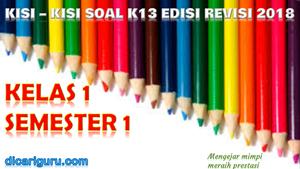 Download Kisi - Kisi Soal K13 Kelas 1 Semester 1 Revisi 2018