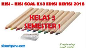 Kisi-Kisi Soal K13 Kelas 3 Semester 1