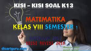 Kisi-Kisi Soal MTK Kelas 8 Semester 1