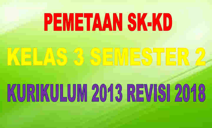 Pemetaan SK-KD Kelas 3 Semester 2