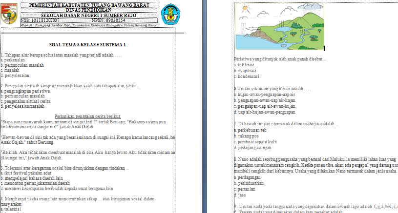 Soal Kelas 5 Tema 8