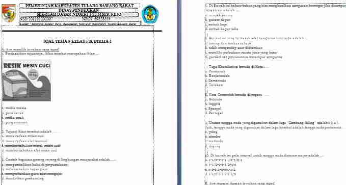 Soal Kelas 5 Tema 9