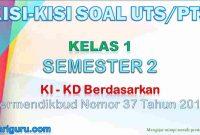 Kisi-Kisi Soal UTS/PTS Kelas 1 Semester 2
