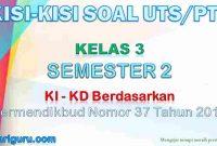 Kisi-Kisi Soal UTS/PTS Kelas 3 Semester 2