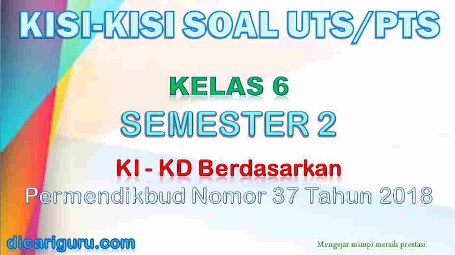 Kisi-Kisi Soal UTS/PTS Kelas 6 Semester 2