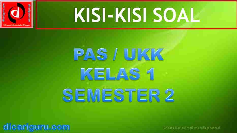 Kisi-kisi Soal PAS Kelas 1 Semester 2