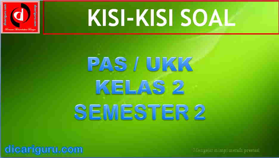 Download Kisi-kisi Soal PAS Kelas 2 Semester 2 K13 Revisi 2018
