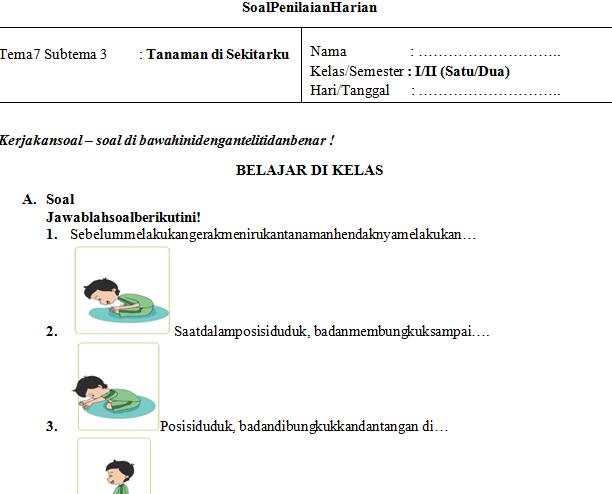 Soal UH PJOK Kelas 1 Tema 7