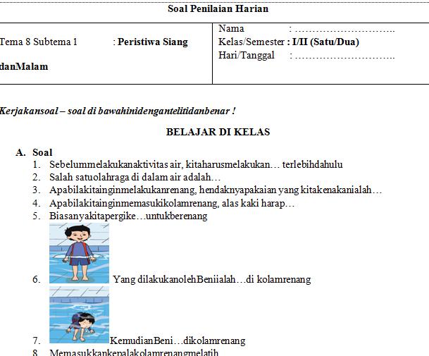 Soal UH PJOK Kelas 1 Tema 8