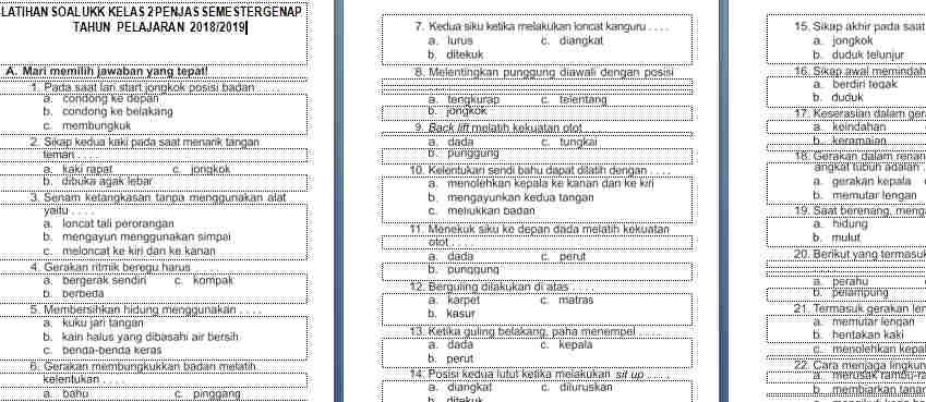 Soal UAS/UKK PJOK Kelas 2 Semester 2