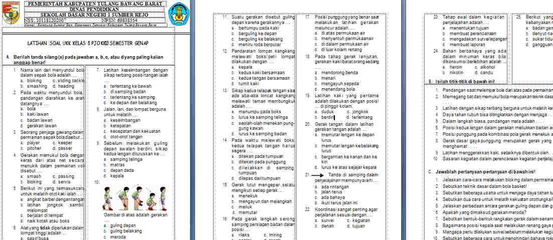 Soal UAS/UKK PJOK Kelas 5 Semester 2