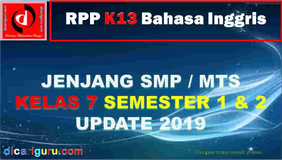 RPP Kelas 7 SMP Pelajaran Bahasa Inggris