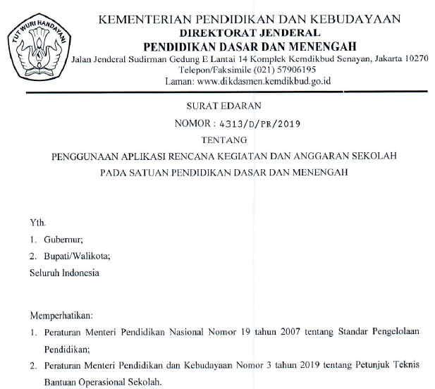 Surat Edaran Penggunaan RKAS Online