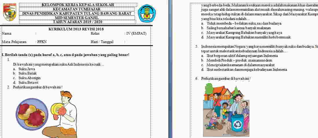 Soal UTS PKN Kelas 4 Semester 1