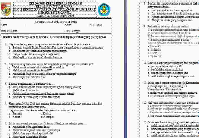 Soal UTS PKN Kelas 5 Semester 1