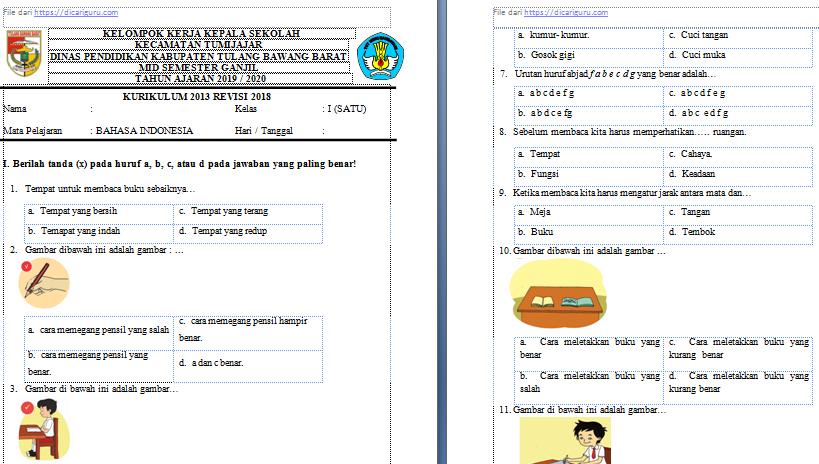 Soal UTS Bahasa Indonesia Kelas 1 Semester 1