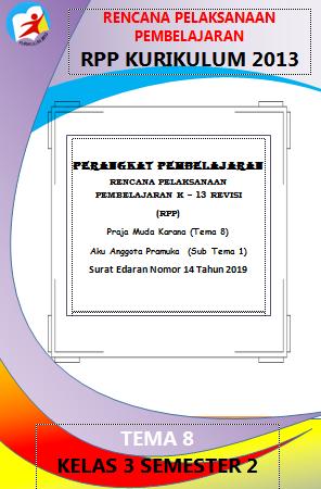 RPP 1 Lembar / Halaman Kelas 3 Tema 8