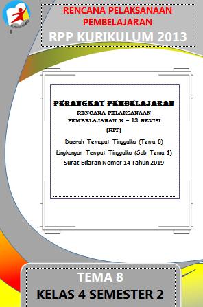 RPP 1 Lembar / Halaman Kelas 4 Tema 8