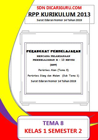 RPP 1 Halaman Kelas 1 Tema 8