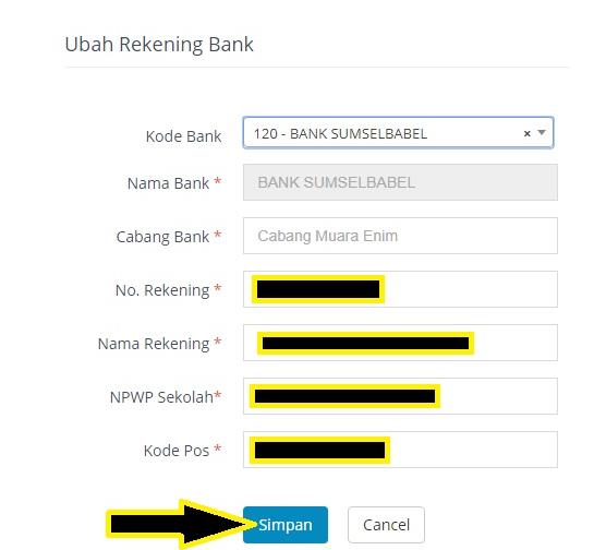 Ubah rekening Bank