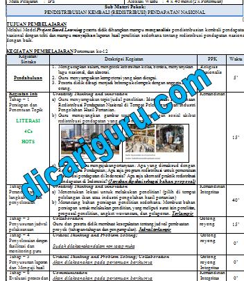 RPP IPS 1 Lembar / Halaman Kelas 8 SMP Semester 2