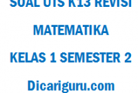 Soal UTS / PTS Matematika Kelas 1 Semester 2
