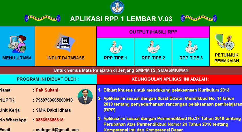 RPP 1 Lembar Jenjang SD SMP SMA dan SMK Aplikasi