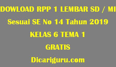 Download RPP 1 Lembar Kelas 6 Tema 1 Selamatkan Mahluk Hidup