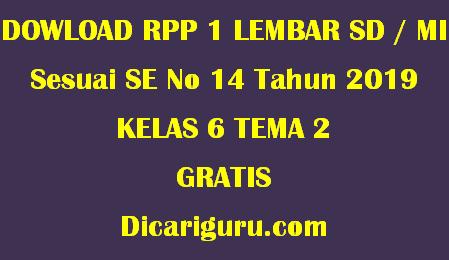 Download RPP 1 Lembar Kelas 6 Tema 2 Persatuan dalam Perbedaan