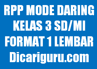 Contoh RPP 1 Lembar Kelas 3 Mode Daring
